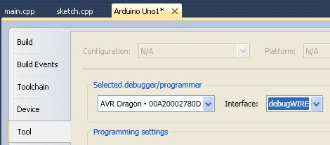 Set the interface to debugWIRE