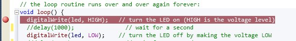 Set a breakpoint by clicking in the margin